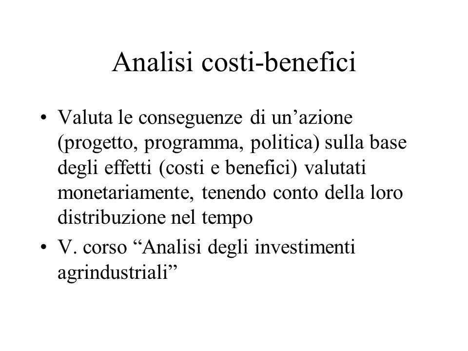 Analisi costi-benefici Valuta le conseguenze di unazione (progetto, programma, politica) sulla base degli effetti (costi e benefici) valutati monetariamente, tenendo conto della loro distribuzione nel tempo V.