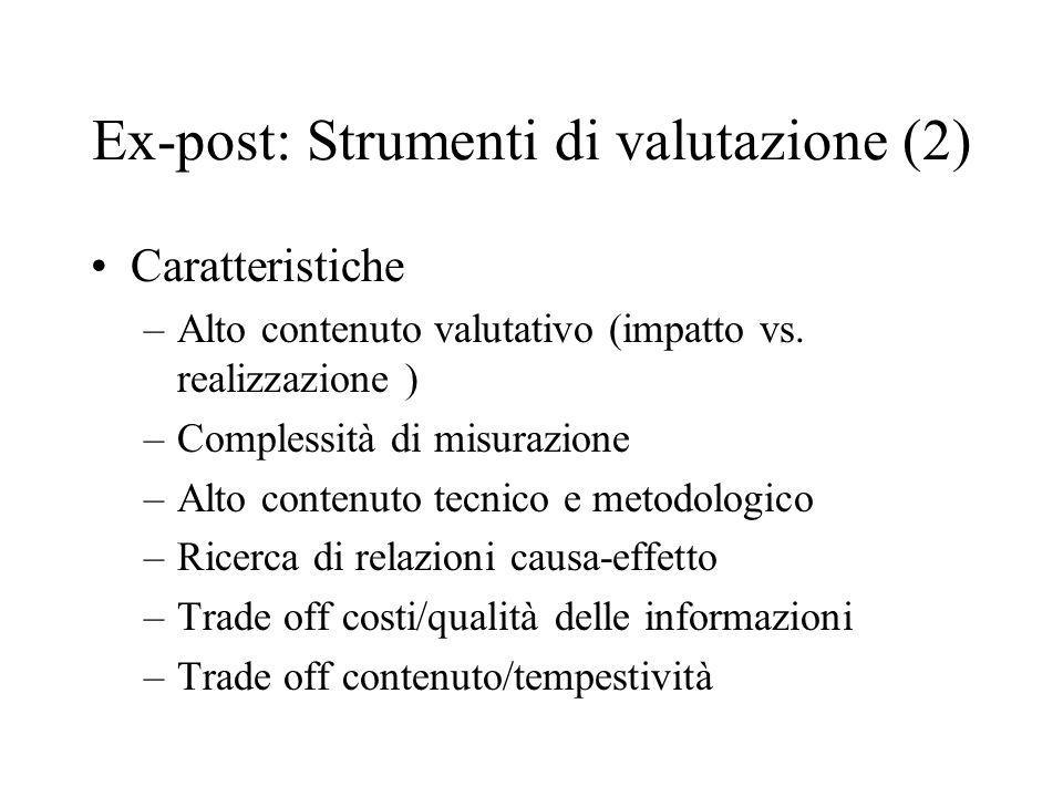 Ex-post: Strumenti di valutazione (2) Caratteristiche –Alto contenuto valutativo (impatto vs. realizzazione ) –Complessità di misurazione –Alto conten
