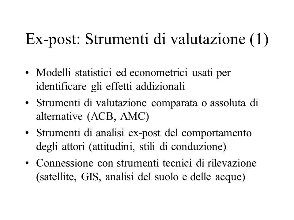 Ex-post: Strumenti di valutazione (1) Modelli statistici ed econometrici usati per identificare gli effetti addizionali Strumenti di valutazione compa