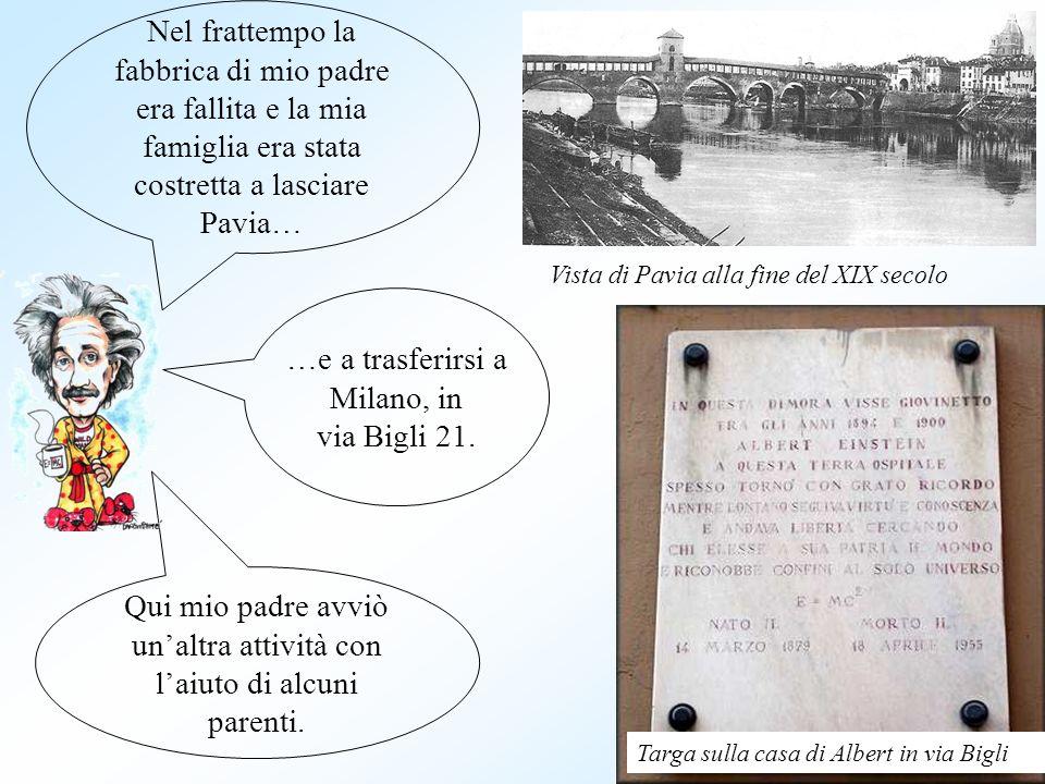 Nel frattempo la fabbrica di mio padre era fallita e la mia famiglia era stata costretta a lasciare Pavia… …e a trasferirsi a Milano, in via Bigli 21.