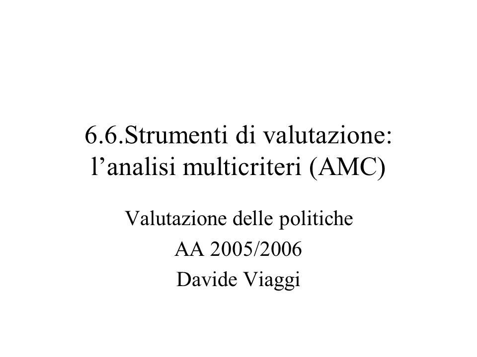 6.6.Strumenti di valutazione: lanalisi multicriteri (AMC) Valutazione delle politiche AA 2005/2006 Davide Viaggi