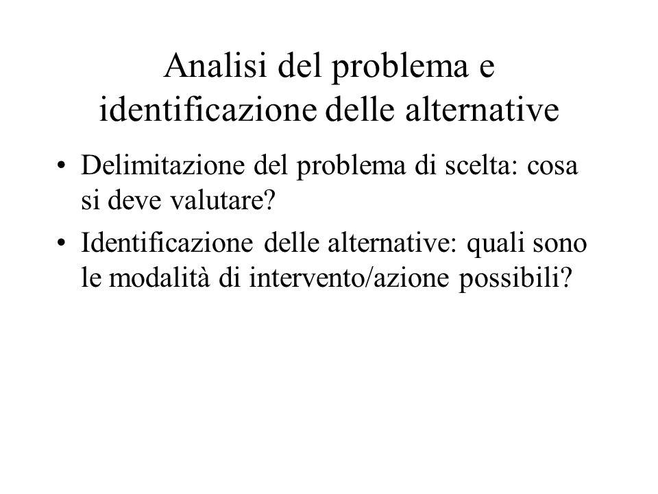Analisi del problema e identificazione delle alternative Delimitazione del problema di scelta: cosa si deve valutare? Identificazione delle alternativ