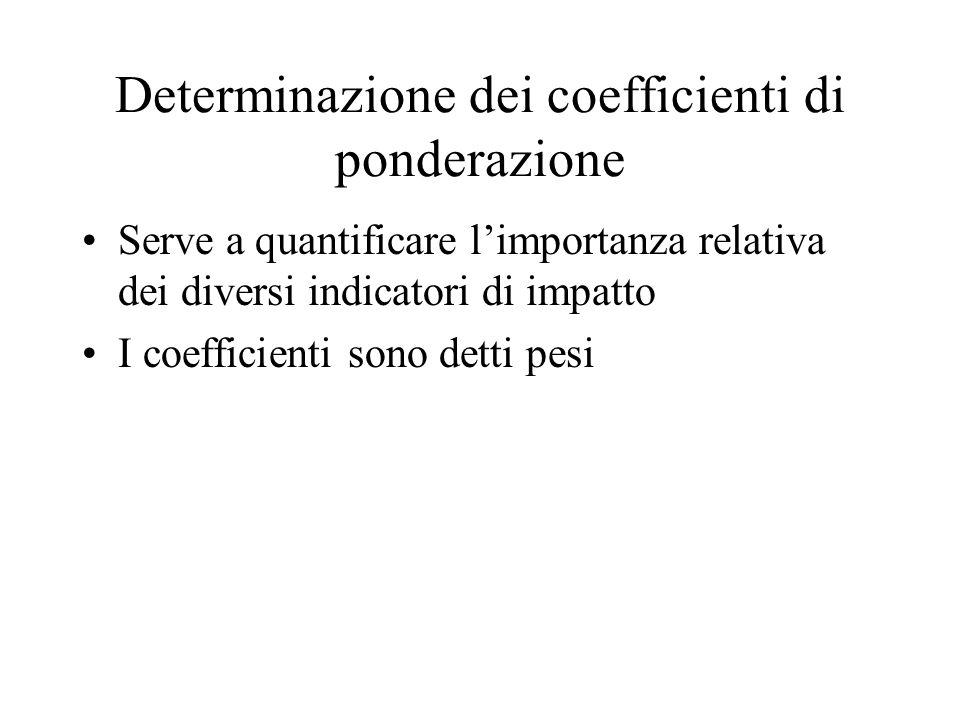 Determinazione dei coefficienti di ponderazione Serve a quantificare limportanza relativa dei diversi indicatori di impatto I coefficienti sono detti pesi