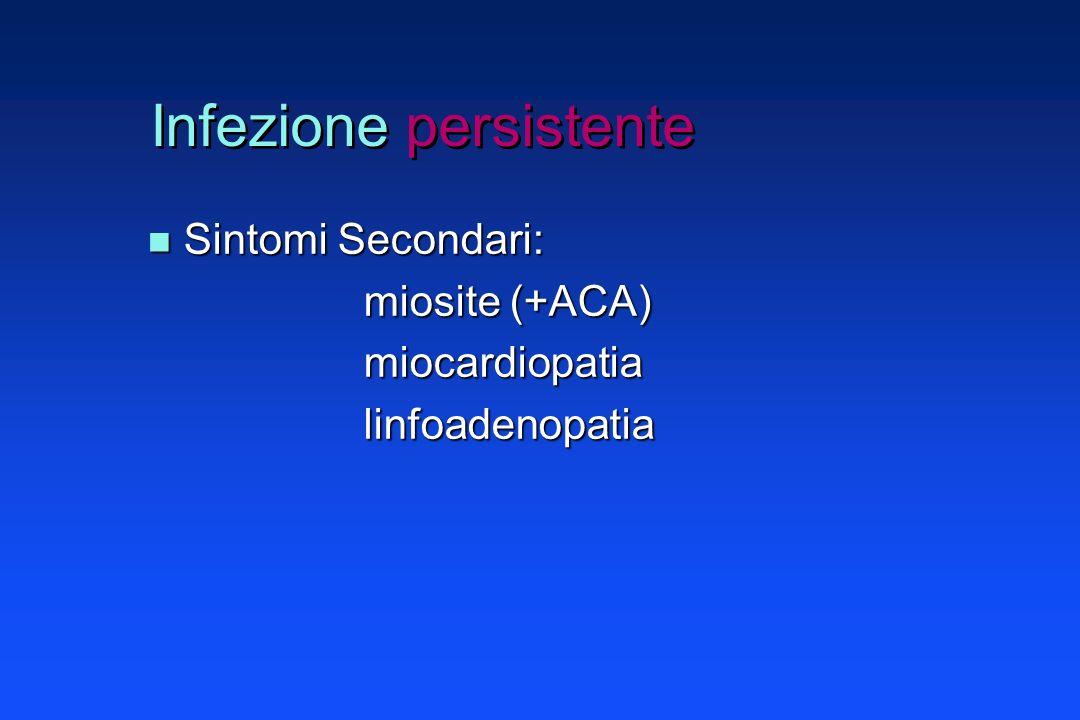 Infezione persistente LATENZA: LATENZA: - periodo asintomatico fra prime due fasi e terza - isolamento del patogeno da soggetti ASINTOMATICI - soggetti sieropositivi possono sviluppare sintomatologia in ritardo