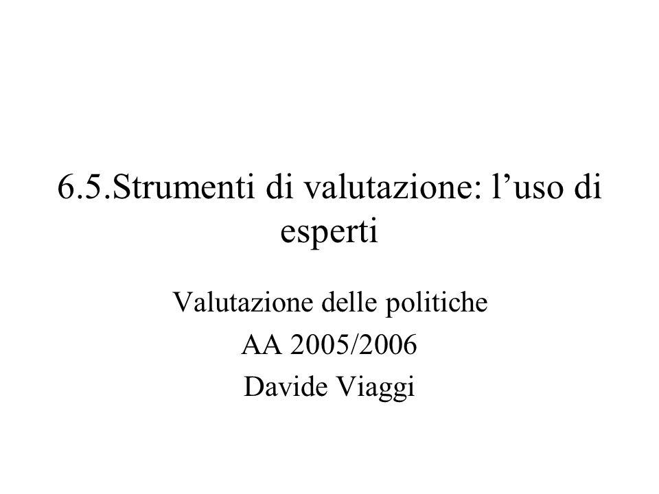 6.5.Strumenti di valutazione: luso di esperti Valutazione delle politiche AA 2005/2006 Davide Viaggi