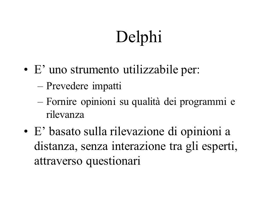 Delphi E uno strumento utilizzabile per: –Prevedere impatti –Fornire opinioni su qualità dei programmi e rilevanza E basato sulla rilevazione di opinioni a distanza, senza interazione tra gli esperti, attraverso questionari