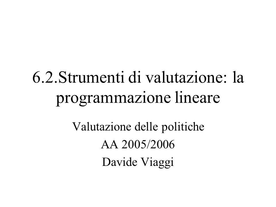 6.2.Strumenti di valutazione: la programmazione lineare Valutazione delle politiche AA 2005/2006 Davide Viaggi
