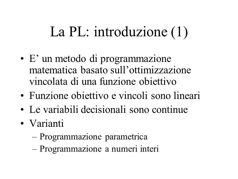 La PL: introduzione (1) E un metodo di programmazione matematica basato sullottimizzazione vincolata di una funzione obiettivo Funzione obiettivo e vincoli sono lineari Le variabili decisionali sono continue Varianti –Programmazione parametrica –Programmazione a numeri interi