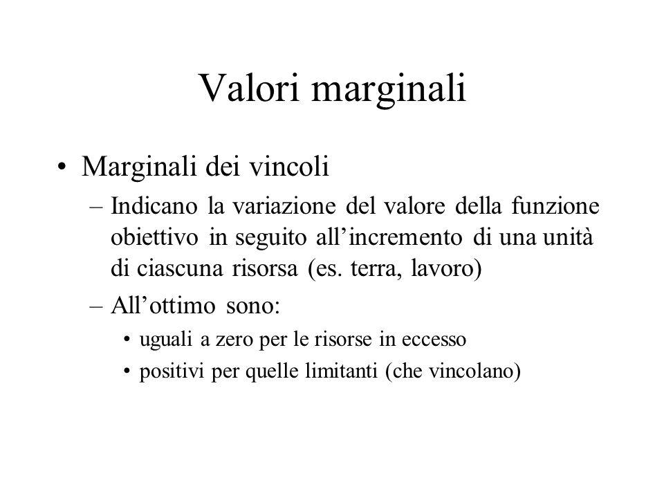 Valori marginali Marginali dei vincoli –Indicano la variazione del valore della funzione obiettivo in seguito allincremento di una unità di ciascuna risorsa (es.