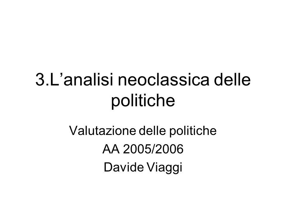 3.Lanalisi neoclassica delle politiche Valutazione delle politiche AA 2005/2006 Davide Viaggi