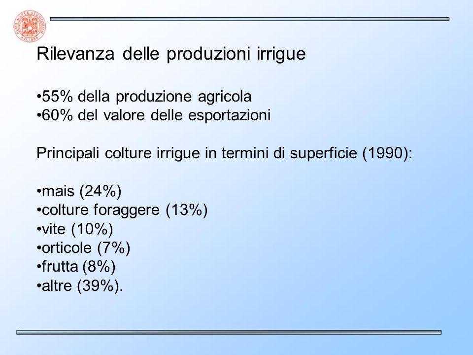 Rilevanza delle produzioni irrigue 55% della produzione agricola 60% del valore delle esportazioni Principali colture irrigue in termini di superficie
