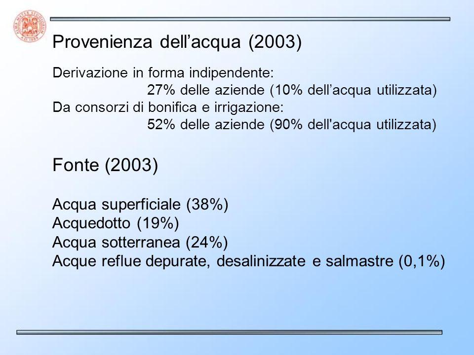Provenienza dellacqua (2003) Derivazione in forma indipendente: 27% delle aziende (10% dellacqua utilizzata) Da consorzi di bonifica e irrigazione: 52