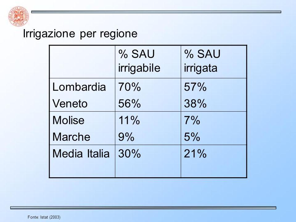 Fonte: Istat (2003) Irrigazione per regione % SAU irrigabile % SAU irrigata Lombardia Veneto 70% 56% 57% 38% Molise Marche 11% 9% 7% 5% Media Italia30