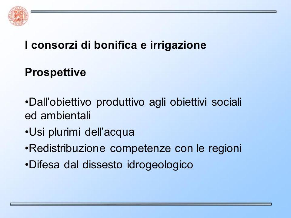 I consorzi di bonifica e irrigazione Prospettive Dallobiettivo produttivo agli obiettivi sociali ed ambientali Usi plurimi dellacqua Redistribuzione c