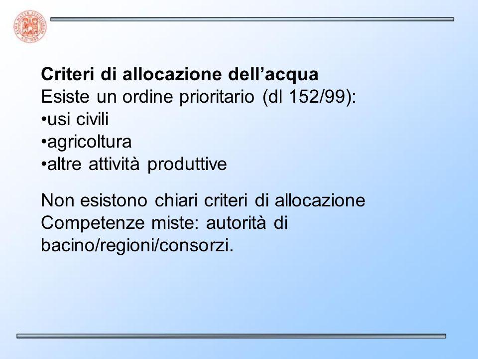 Criteri di allocazione dellacqua Esiste un ordine prioritario (dl 152/99): usi civili agricoltura altre attività produttive Non esistono chiari criteri di allocazione Competenze miste: autorità di bacino/regioni/consorzi.