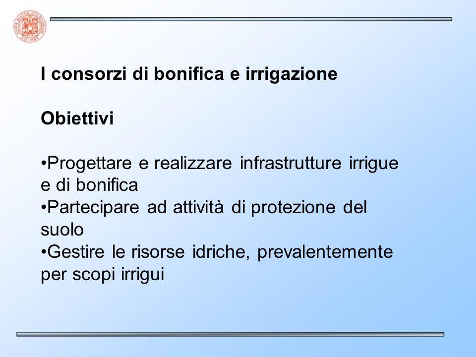 I consorzi di bonifica e irrigazione Obiettivi Progettare e realizzare infrastrutture irrigue e di bonifica Partecipare ad attività di protezione del