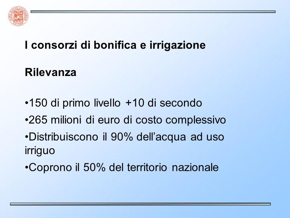 I consorzi di bonifica e irrigazione Rilevanza 150 di primo livello +10 di secondo 265 milioni di euro di costo complessivo Distribuiscono il 90% dellacqua ad uso irriguo Coprono il 50% del territorio nazionale