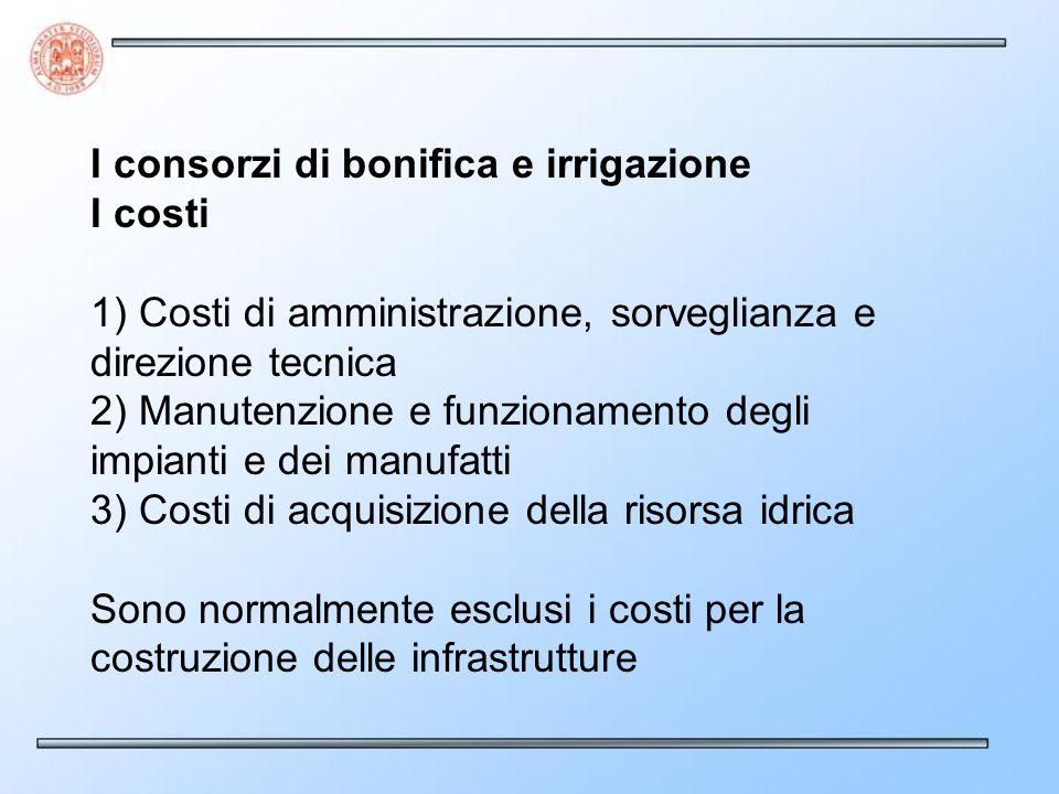 I consorzi di bonifica e irrigazione I costi 1) Costi di amministrazione, sorveglianza e direzione tecnica 2) Manutenzione e funzionamento degli impia