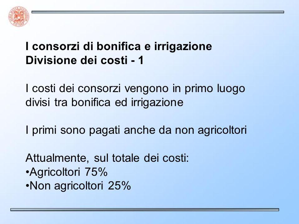 I consorzi di bonifica e irrigazione Divisione dei costi - 1 I costi dei consorzi vengono in primo luogo divisi tra bonifica ed irrigazione I primi sono pagati anche da non agricoltori Attualmente, sul totale dei costi: Agricoltori 75% Non agricoltori 25%