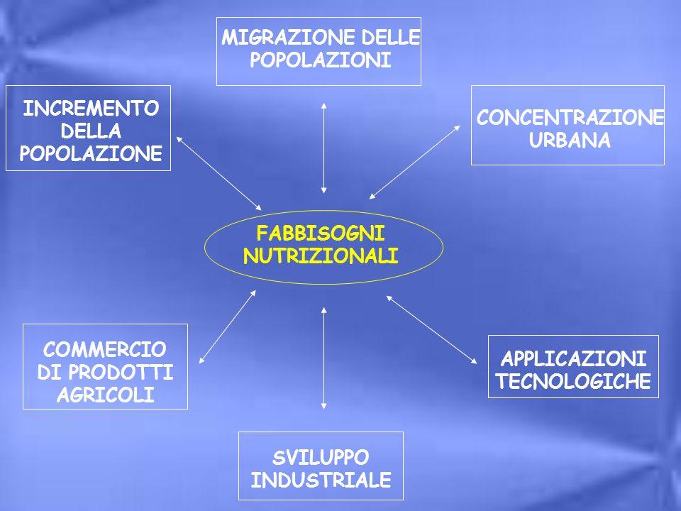 MIGRAZIONE DELLE POPOLAZIONI INCREMENTO DELLA POPOLAZIONE COMMERCIO DI PRODOTTI AGRICOLI SVILUPPO INDUSTRIALE APPLICAZIONI TECNOLOGICHE CONCENTRAZIONE