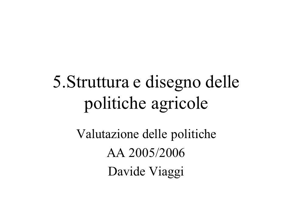 5.Struttura e disegno delle politiche agricole Valutazione delle politiche AA 2005/2006 Davide Viaggi