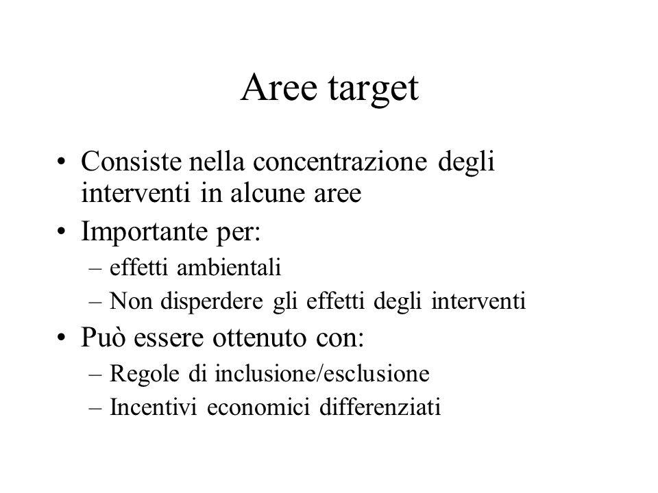 Aree target Consiste nella concentrazione degli interventi in alcune aree Importante per: –effetti ambientali –Non disperdere gli effetti degli interv