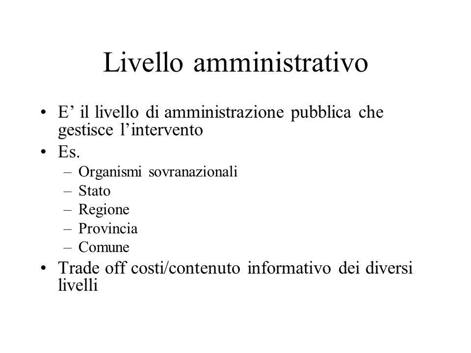 Livello amministrativo E il livello di amministrazione pubblica che gestisce lintervento Es. –Organismi sovranazionali –Stato –Regione –Provincia –Com
