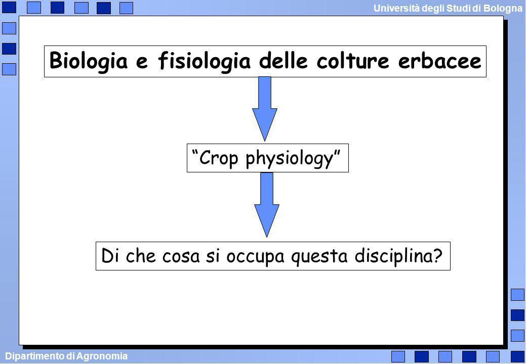 Dipartimento di Agronomia Università degli Studi di Bologna Che cosa è la crop physiology fisiologia vegetale agronomia botanica biochimica ecologia coltivazioni erbacee Crop physiology
