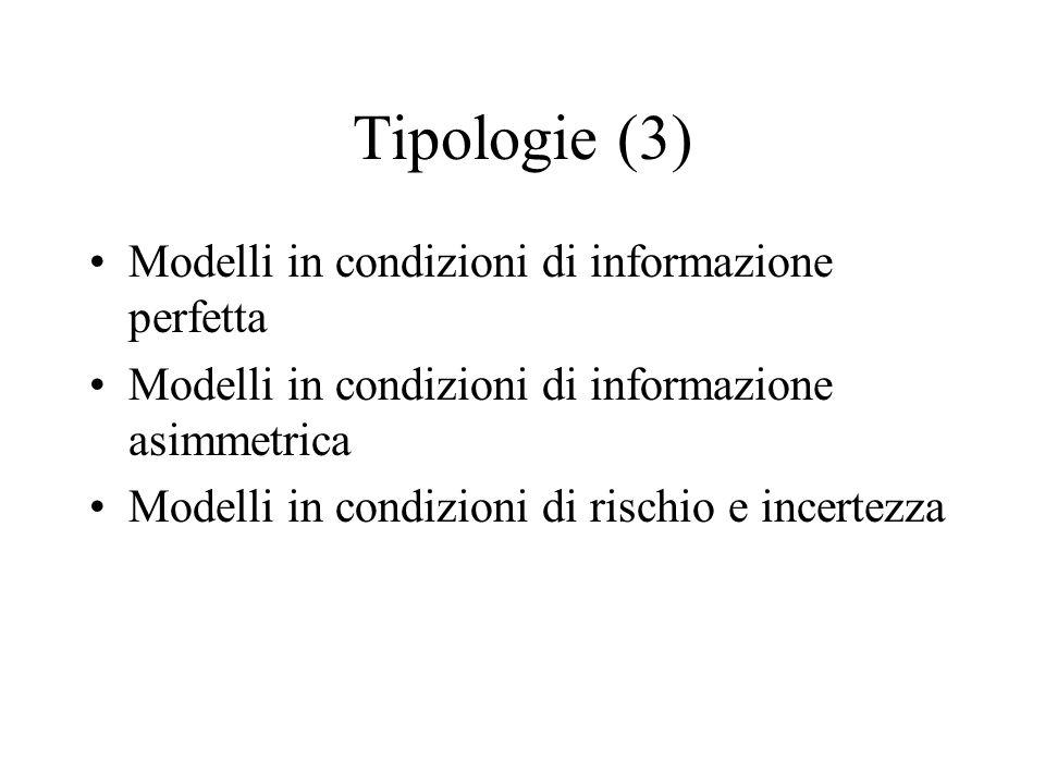 Tipologie (3) Modelli in condizioni di informazione perfetta Modelli in condizioni di informazione asimmetrica Modelli in condizioni di rischio e incertezza