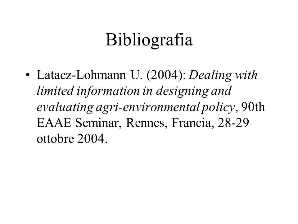 Bibliografia Latacz-Lohmann U. (2004): Dealing with limited information in designing and evaluating agri-environmental policy, 90th EAAE Seminar, Renn