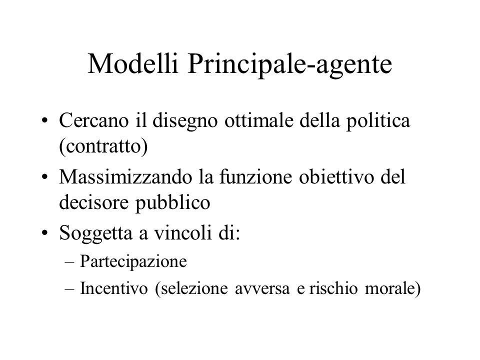 Modelli Principale-agente Cercano il disegno ottimale della politica (contratto) Massimizzando la funzione obiettivo del decisore pubblico Soggetta a vincoli di: –Partecipazione –Incentivo (selezione avversa e rischio morale)