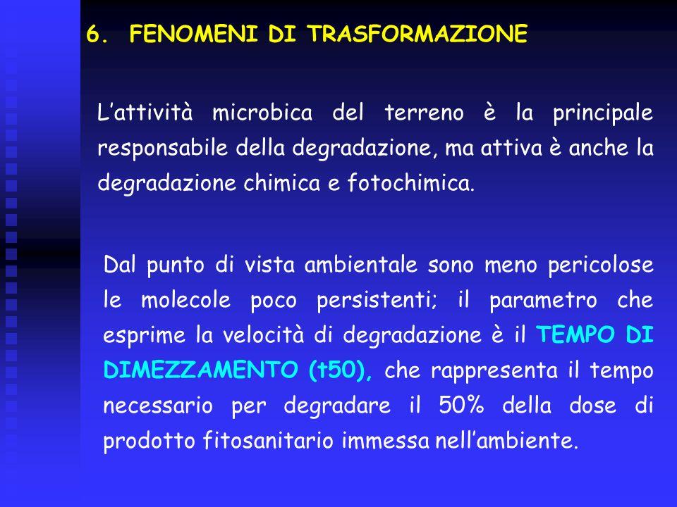 6. FENOMENI DI TRASFORMAZIONE Lattività microbica del terreno è la principale responsabile della degradazione, ma attiva è anche la degradazione chimi