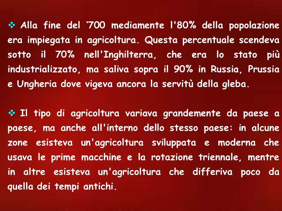 Alla fine del 700 mediamente l'80% della popolazione era impiegata in agricoltura. Questa percentuale scendeva sotto il 70% nell'Inghilterra, che era