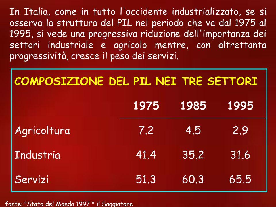 In Italia, come in tutto l'occidente industrializzato, se si osserva la struttura del PIL nel periodo che va dal 1975 al 1995, si vede una progressiva