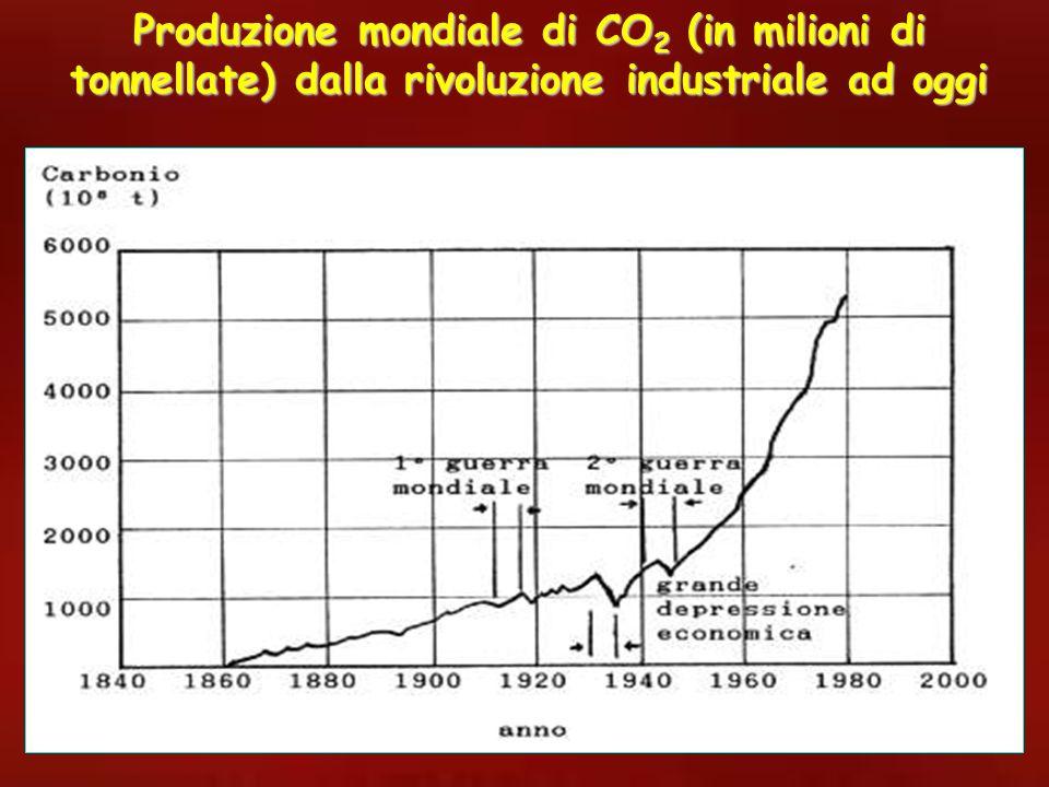 Produzione mondiale di CO 2 (in milioni di tonnellate) dalla rivoluzione industriale ad oggi
