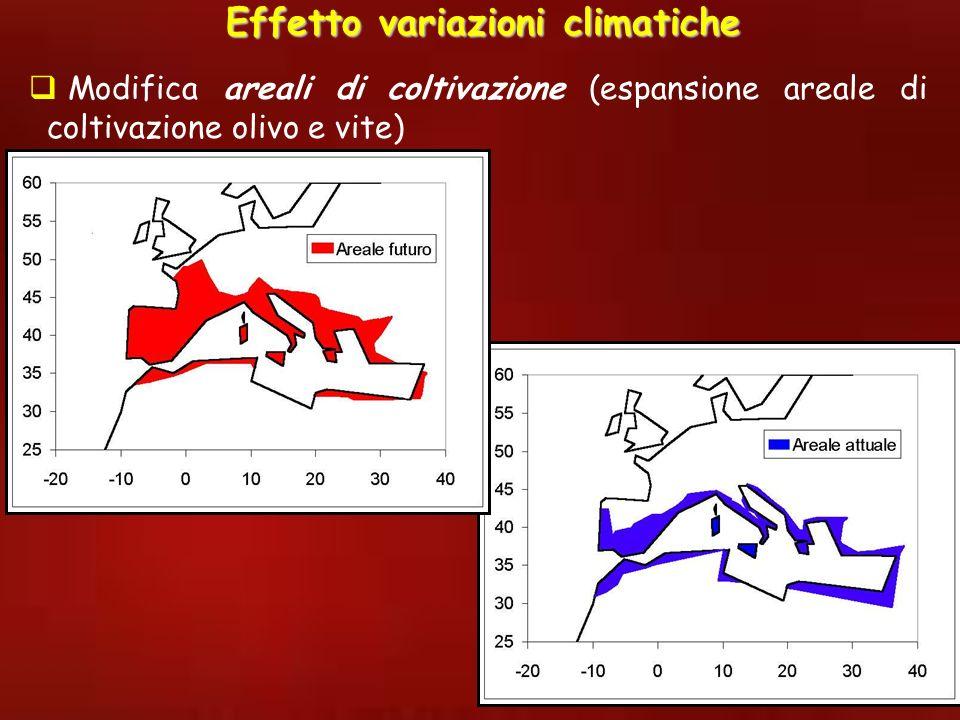 Modifica areali di coltivazione (espansione areale di coltivazione olivo e vite) Effetto variazioni climatiche