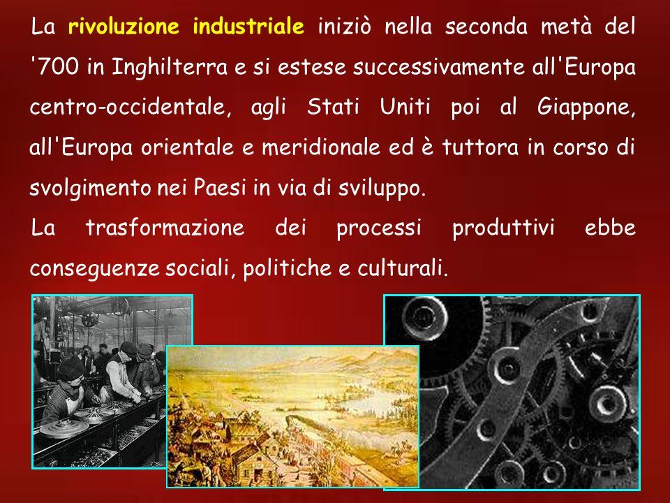 La rivoluzione industriale iniziò nella seconda metà del '700 in Inghilterra e si estese successivamente all'Europa centro-occidentale, agli Stati Uni