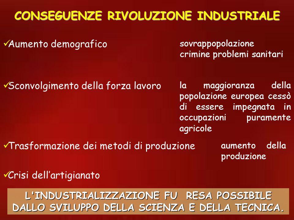 CONSEGUENZE RIVOLUZIONE INDUSTRIALE la maggioranza della popolazione europea cessò di essere impegnata in occupazioni puramente agricole Sconvolgiment