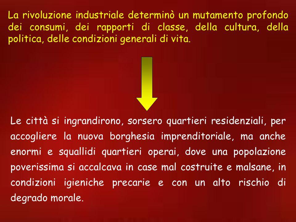 La rivoluzione industriale determinò un mutamento profondo dei consumi, dei rapporti di classe, della cultura, della politica, delle condizioni genera
