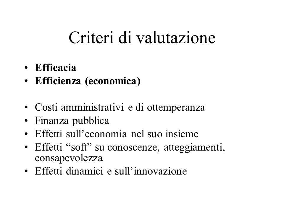 Criteri di valutazione Efficacia Efficienza (economica) Costi amministrativi e di ottemperanza Finanza pubblica Effetti sulleconomia nel suo insieme Effetti soft su conoscenze, atteggiamenti, consapevolezza Effetti dinamici e sullinnovazione
