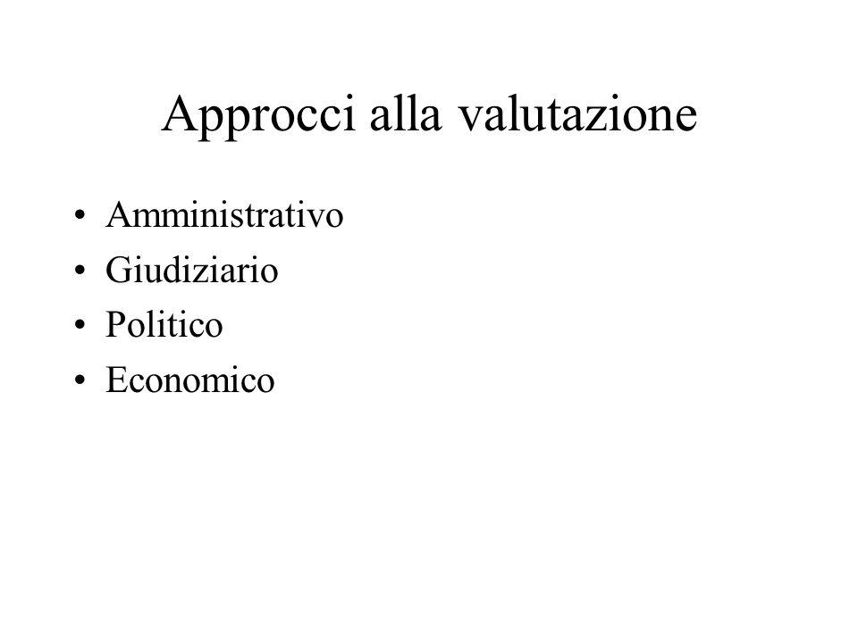 Approcci alla valutazione Amministrativo Giudiziario Politico Economico