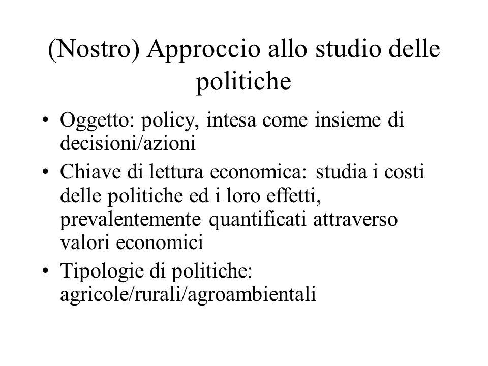 (Nostro) Approccio allo studio delle politiche Oggetto: policy, intesa come insieme di decisioni/azioni Chiave di lettura economica: studia i costi de