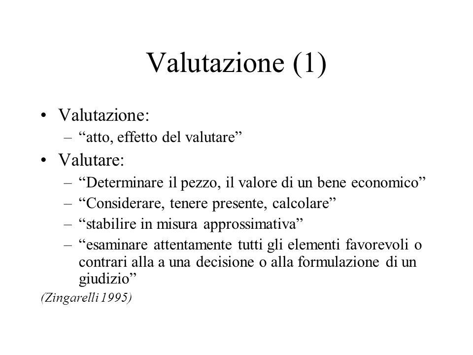 Valutazione (1) Valutazione: –atto, effetto del valutare Valutare: –Determinare il pezzo, il valore di un bene economico –Considerare, tenere presente