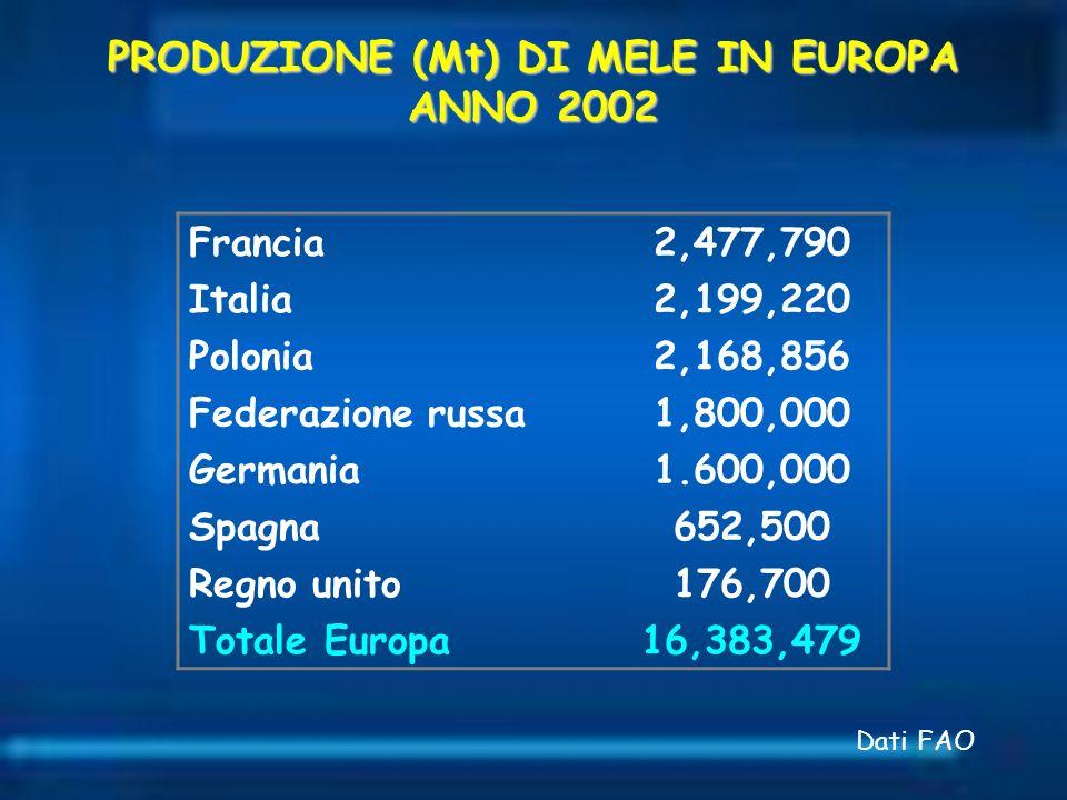 Francia2,477,790 Italia2,199,220 Polonia2,168,856 Federazione russa1,800,000 Germania1.600,000 Spagna652,500 Regno unito176,700 Totale Europa16,383,47