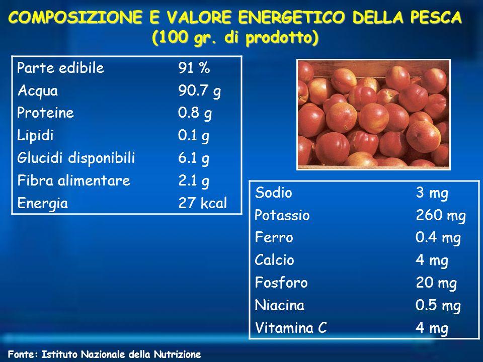 COMPOSIZIONE E VALORE ENERGETICO DELLA PESCA (100 gr. di prodotto) Parte edibile91 % Acqua90.7 g Proteine0.8 g Lipidi0.1 g Glucidi disponibili6.1 g Fi
