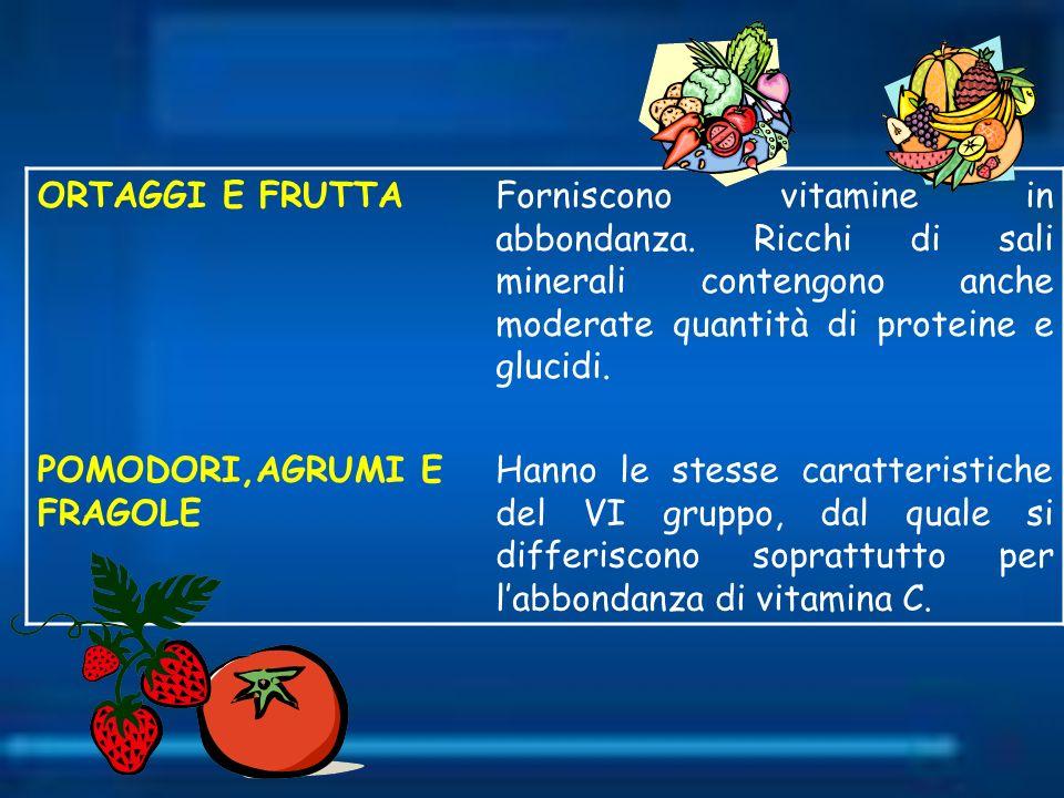 ORTAGGI E FRUTTAForniscono vitamine in abbondanza. Ricchi di sali minerali contengono anche moderate quantità di proteine e glucidi. POMODORI,AGRUMI E