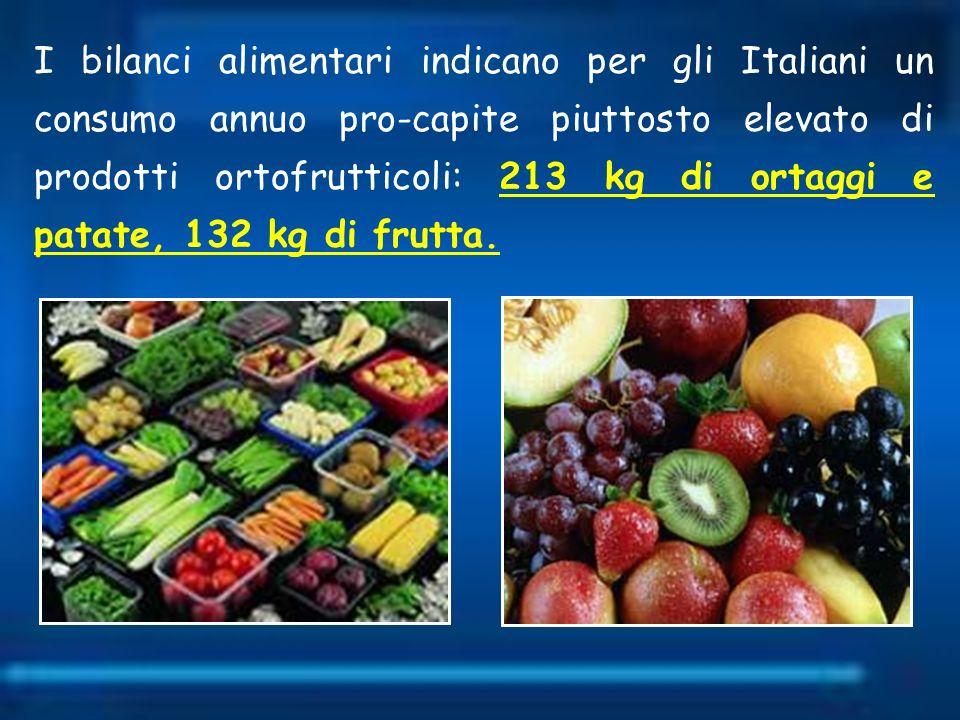 I bilanci alimentari indicano per gli Italiani un consumo annuo pro-capite piuttosto elevato di prodotti ortofrutticoli: 213 kg di ortaggi e patate, 1