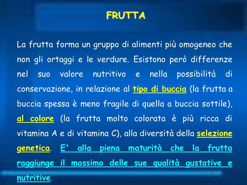 La frutta forma un gruppo di alimenti più omogeneo che non gli ortaggi e le verdure. Esistono però differenze nel suo valore nutritivo e nella possibi