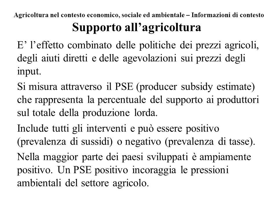 Supporto allagricoltura E leffetto combinato delle politiche dei prezzi agricoli, degli aiuti diretti e delle agevolazioni sui prezzi degli input. Si