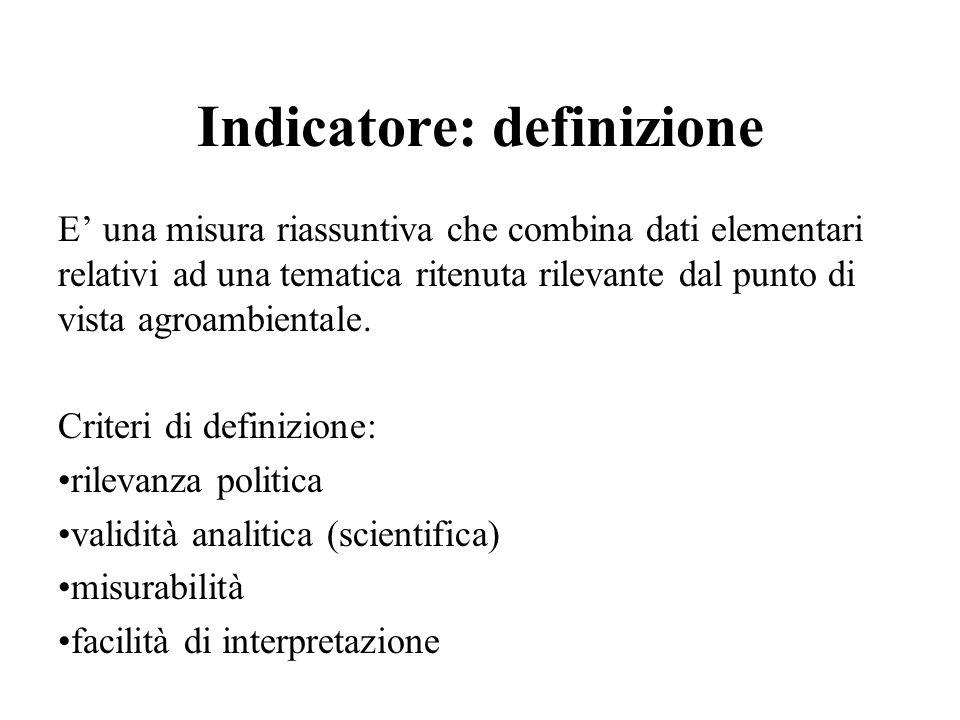 Indicatore: definizione E una misura riassuntiva che combina dati elementari relativi ad una tematica ritenuta rilevante dal punto di vista agroambien